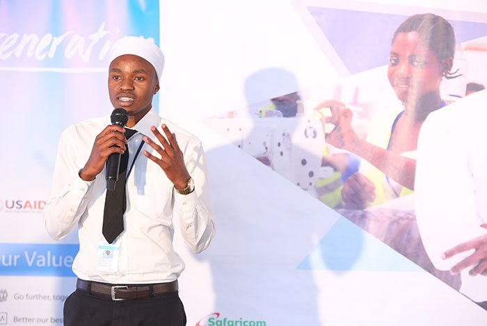Ibrahim Waweru, a Generation Kenya student, presenting a poem to appreciate Generation and its funders